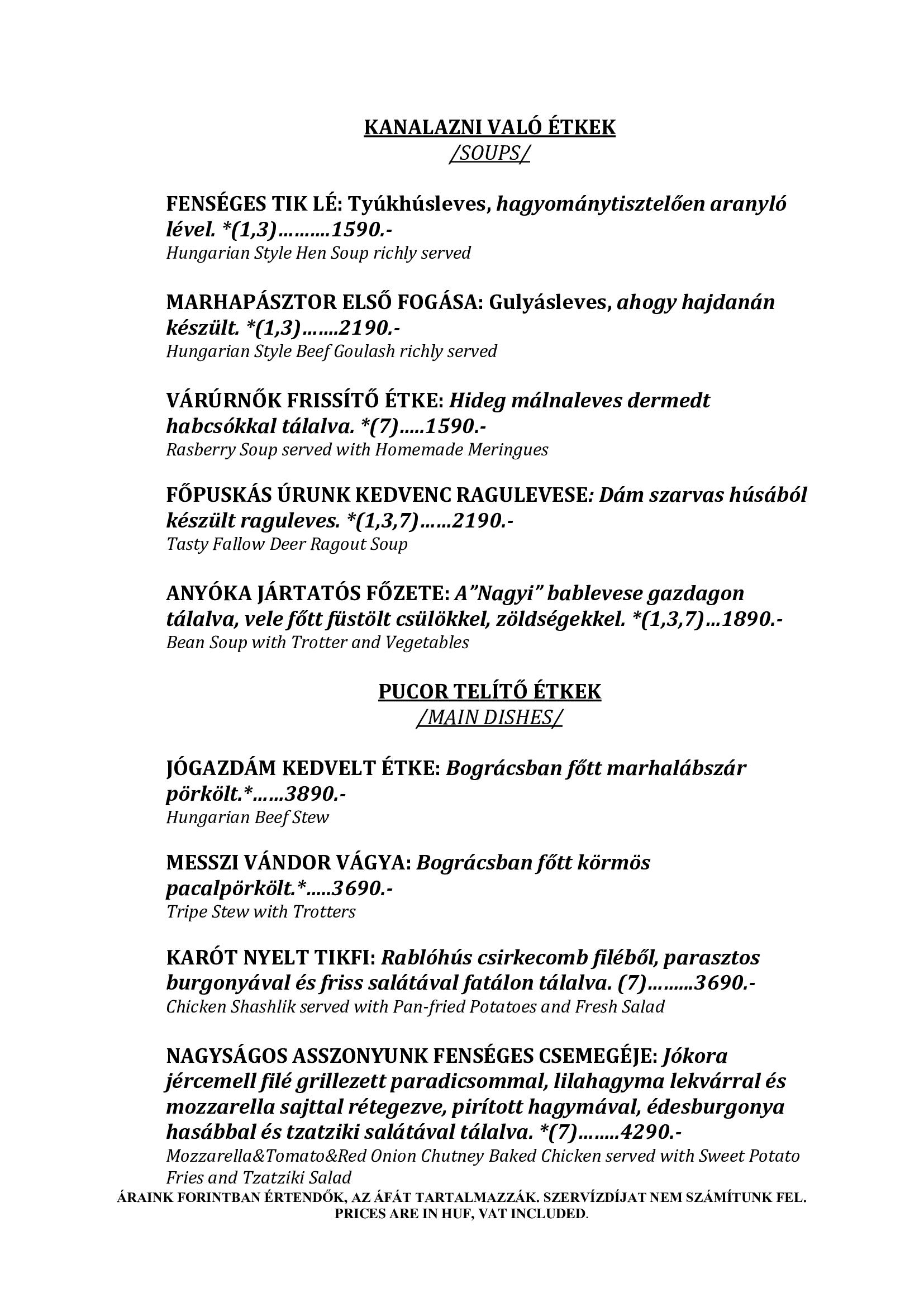 Középkori étlap